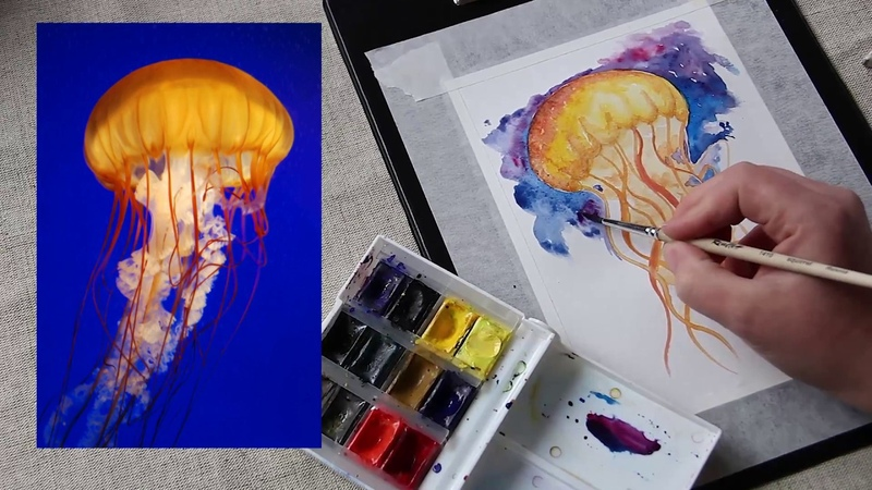 Скетчинг акварельный. Рисуем медузу