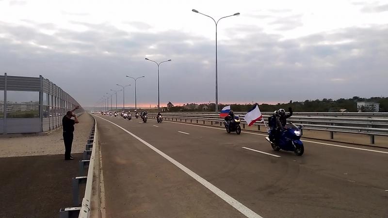 Мото пробег байкеров через керченский мост