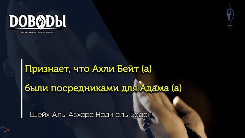 Суннитский Шейх Аль-Азхара Нади аль Бадри - Признает,что Ахли Бейт (а) были посредниками для Адама (а)