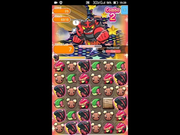 Pokemon Shuffle - Incineroar Escalation Battle 25 lvl