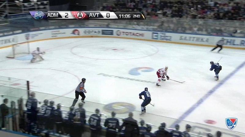 Моменты из матчей КХЛ сезона 14/15 • Гол. 3:0. Горшков Александр (Адмирал) забрасывает шайбу в ворота соперника 06.12