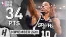 DeMar DeRozan Full Highlights Spurs vs Bucks 2018 11 24 34 Points