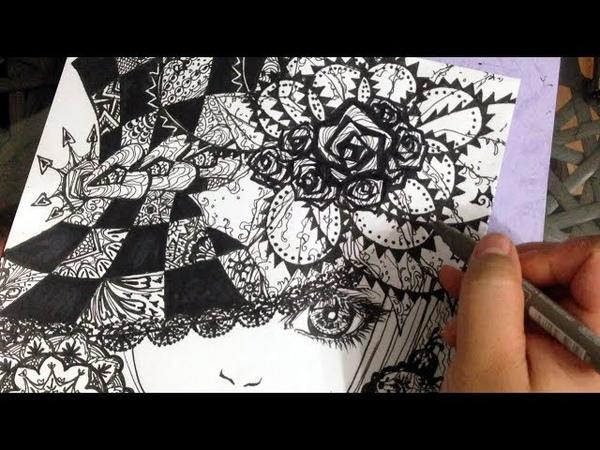 Zendoodle drawing วาดภาพลายเส้น Thumbelibell Yelps