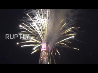 South Korea_ Fireworks soar above Seouls Lotte World Tower for the New Year