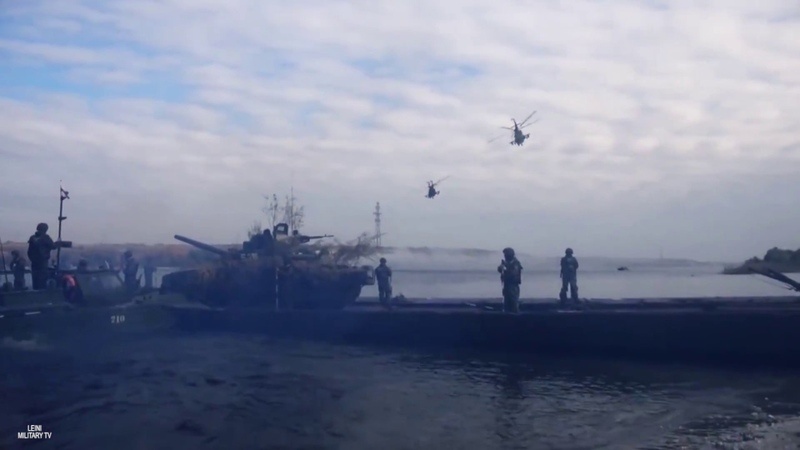 Russian military river crossing exercise