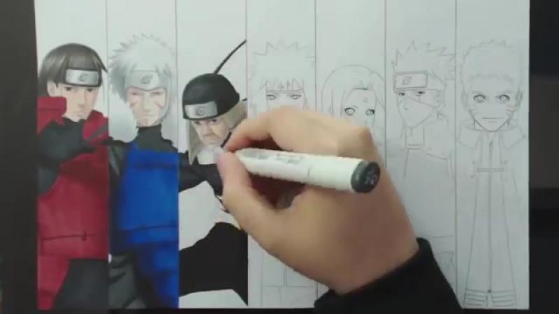 Speed Drawing - 7 HOKAGES (Naruto)