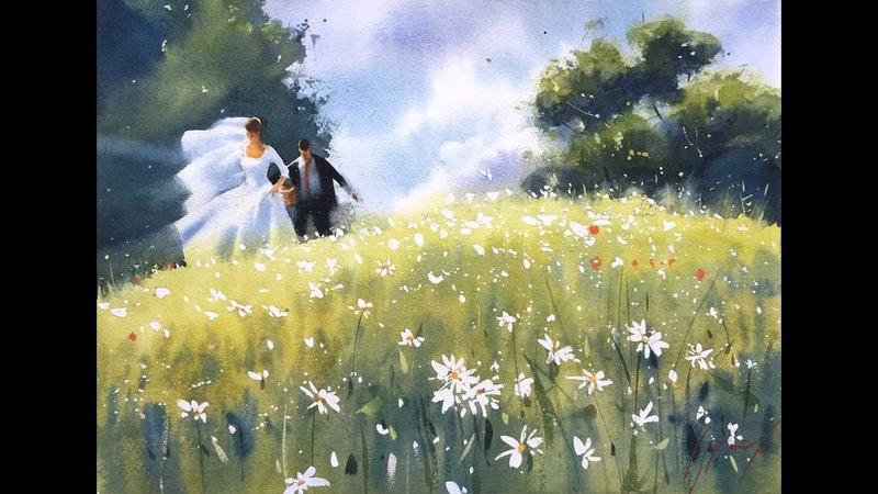 Акварельный марафон Сергея Курбатова. Урок по рисованию Невесты. Ромашки (выбор сюжета).