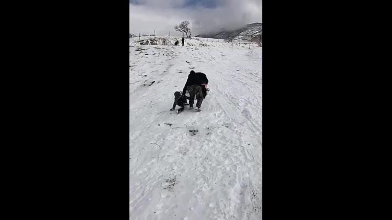 Отец спас детей на снежной горке и это чем то напоминает сцену из фильмов о Джеймсе Бонде