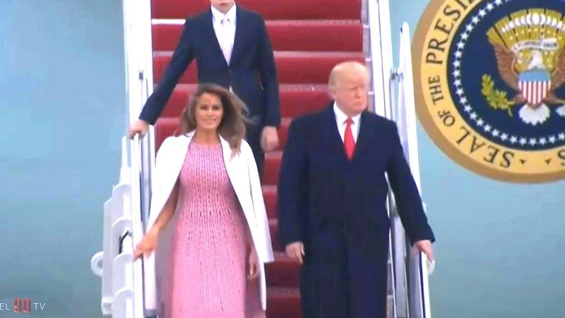 President Trump, First Lady Melania Trump and Barron Trump arrive in Washington, DC. April 1, 2018.
