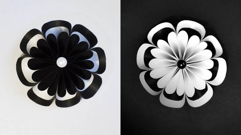 Amazing Paper Flower | White and black Origami Craft Tutorial DIY