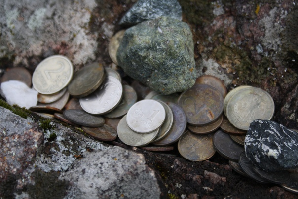 Монетки бросают, есть копейки и сомы.