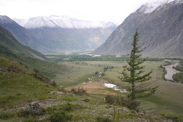 Долина Чулышмана. Ущелье между двумя горными хребтами.