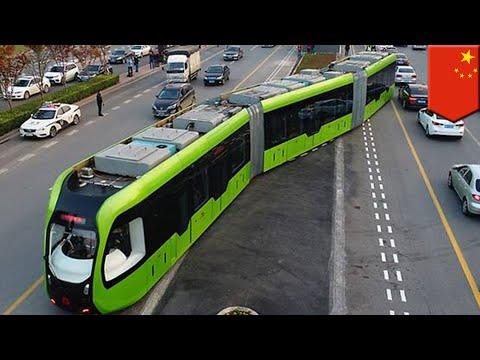 Future transport: China launches futuristic, trackless 'smart train' - TomoNews