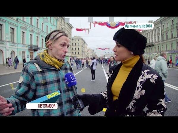 En las calles de San Petersburgo Andrea Jaramillo mostró sus dotes para el jazz