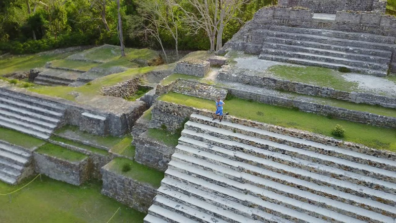 Drone/Aerial footage of Mayan pyramid ruins in northern Belize (Altun Ha ruins)