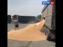 Недовольный водитель разгрузил зерно на трассе под Ростовом назло полицейским