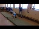 тренировка на цирковой, Кира учит маховое сальто через переворот..