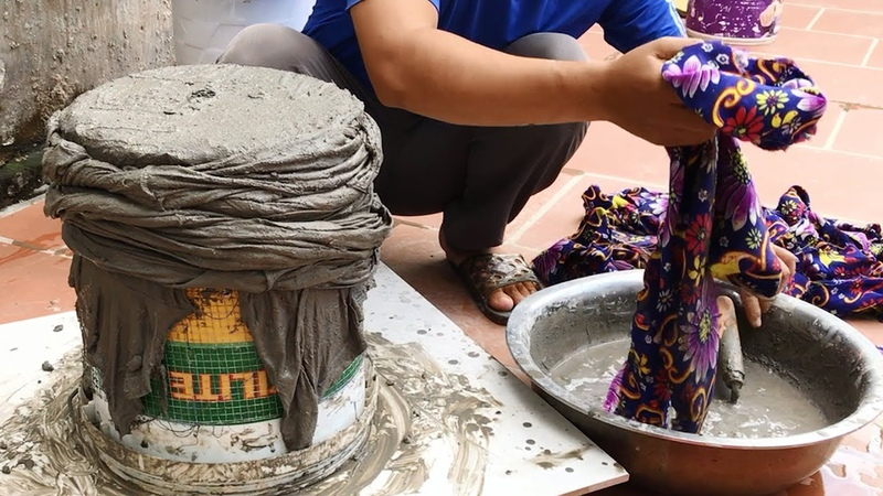Make pots at home beautiful - Construction design with sand and cement - How to make flower pots