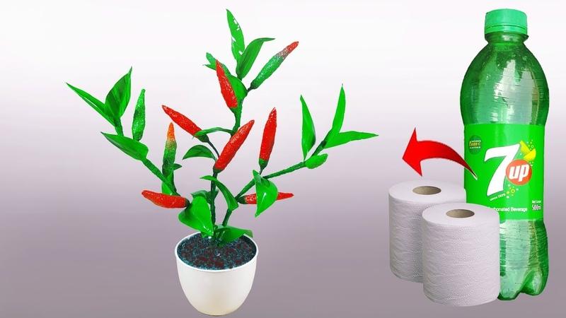 বোতল আর টিস্যু দিয়ে মরিচ গাছ তৈরি || Chili, Pepper tree With Tissue Plastic Bottle || Paper c