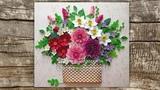 Tutorial Quilling Dahlia Flowers Basket - DIY