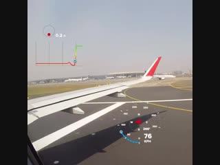 Взлет самолета Airbus A320 (перегрузка, компас, скорость)