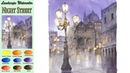 Landscape Watercolor Night Street Masking Work wet in wet Arches rough NAMIL ART