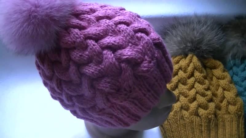 Вязание шапки узором Коса с 12 петеРь Knitting hats pattern Kos with 12