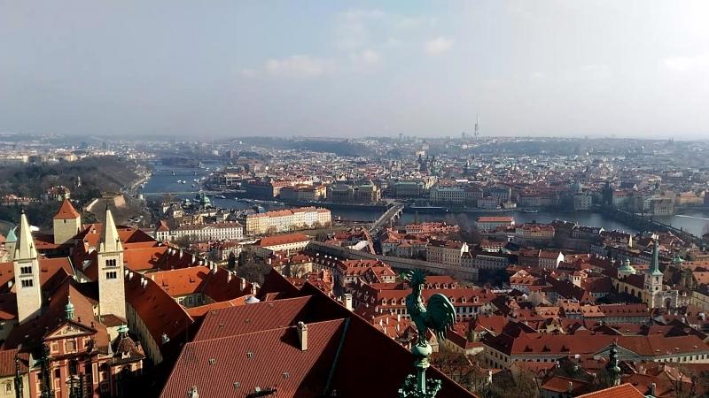 Прага в высоты башни Собора Св. Вита. 287 ступеней по винтовой средневековой лестнице наверх и столько же обратно. 23.02.2018