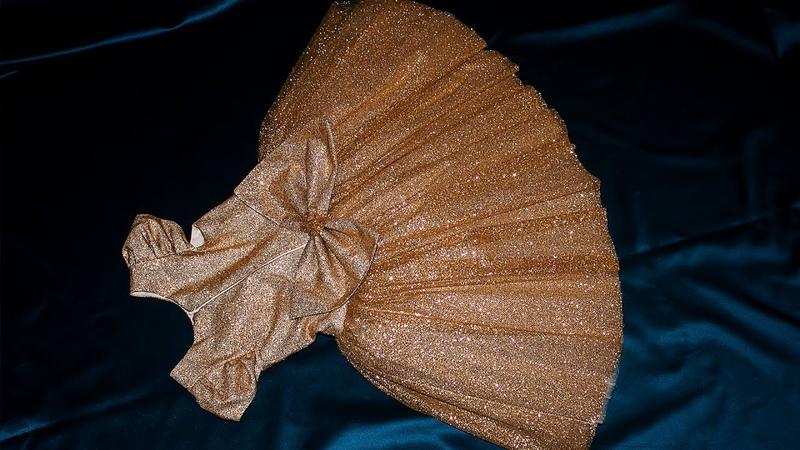 Золотое новогоднее платье для девочек мерцание в золотом оттенке