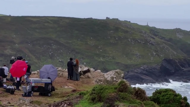 Poldark scene from second day shooting near Botallack 15 Sept 2015
