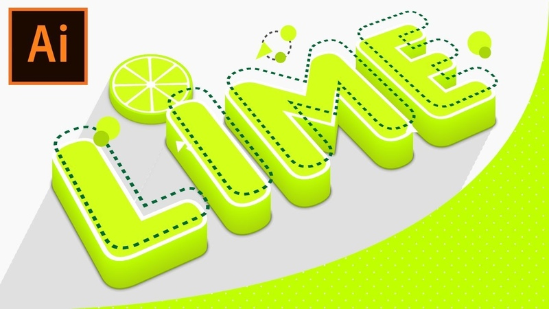 😜 How to create Editable Tangy Lime Text in Adobe Illustrator Tutorial
