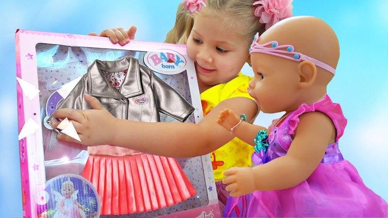 Диана как МАМА и новая Одежда для куклы Беби Бон Diana playing with Baby Born Doll Videos for kids