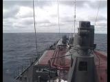 Пуск ракет с эсминца Адмирал Ушаков во время учений в Баренцевом море