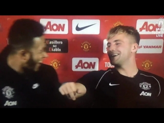 @LukeShaw23 @Memphis Depay He calls me massive all the time. - - Shaw He's lying you know, i've never said that once! - - mufc