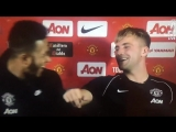 @LukeShaw23 @Memphis Depay He calls me massive all the time. - - Shaw Hes lying you know, ive never said that once! - - mufc