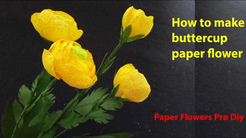Paper flowers pro diy How to make Buttercup Ranunculus flower using crepe paper handcraft ideas