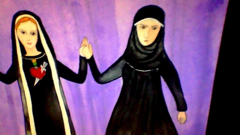 Богородица между святыми Ефросиньями. Рисунок.