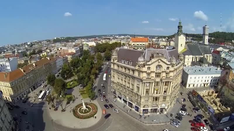 Львів аеровідеозйомка . Lviv (Birds eye view) . Львов Аэровидеосъемка.