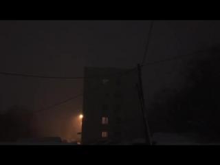 Снежная гроза в Петропавловске-Камчатском (Россия, вечером 22 января 2018).