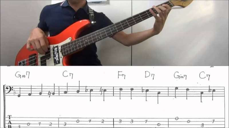 Walking bass line lesson on【F blues】with score and Tab