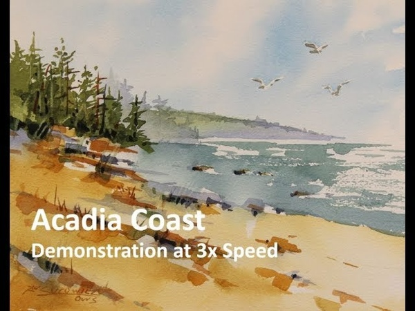 Transparent Watercolor Demonstration Acadia Coast at 3X speed