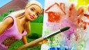 Барби рисует картину на природе. Видео с куклами