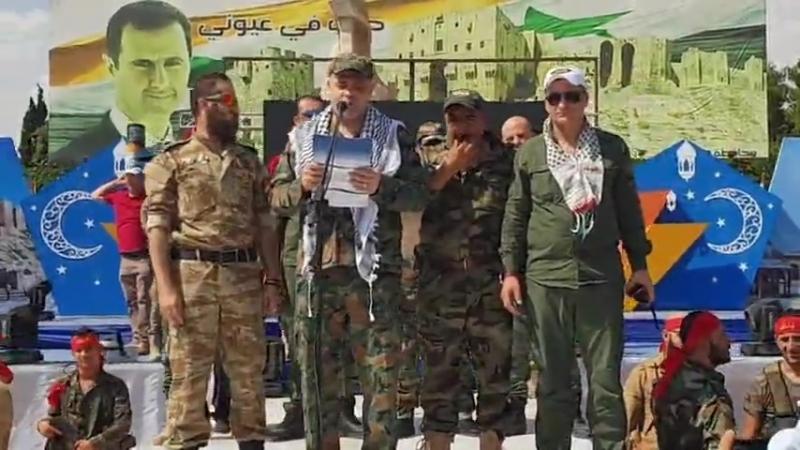 Лива Аль-Кудс на праздновании Международного дня Аль-Кудс на площади Саадалла аль-Джабри в Алеппо