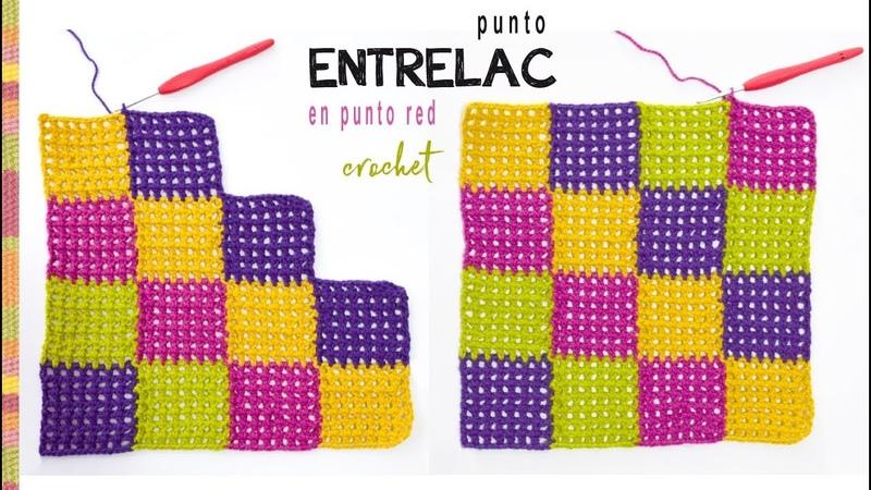 Entrelac en punto red para colchas de bebé tejido a crochet Tejiendo Perú