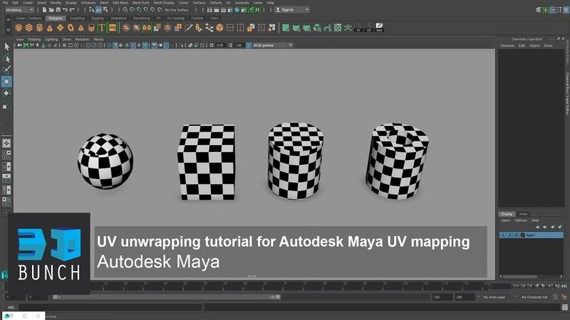 UV Unwrapping Tutorial For Autodesk Maya UV mapping UV Editor
