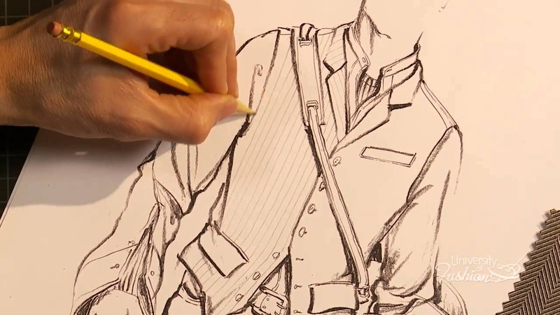 How to hand render a herringbone pattern on a stylish mens vest