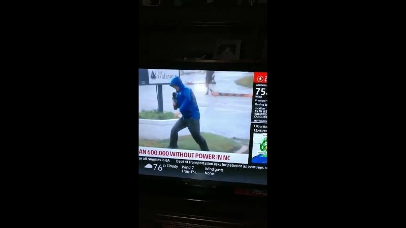 Репортер канада The Weather Channel в буквальном смысле еле стоит на ногах, в то время как на заднем плане спокойно гуляют люди.
