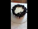 Торт с вишней и сметанным кремом.В оформлении шоколада и винограда.