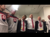Team Slovakia celebrate their incredible win over Team USA
