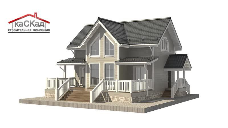 Каркасный дом с открытой террасой и вторым светом КД-288